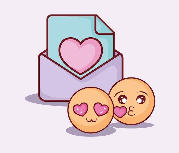 Online datingontwerp met emoji's en envelop