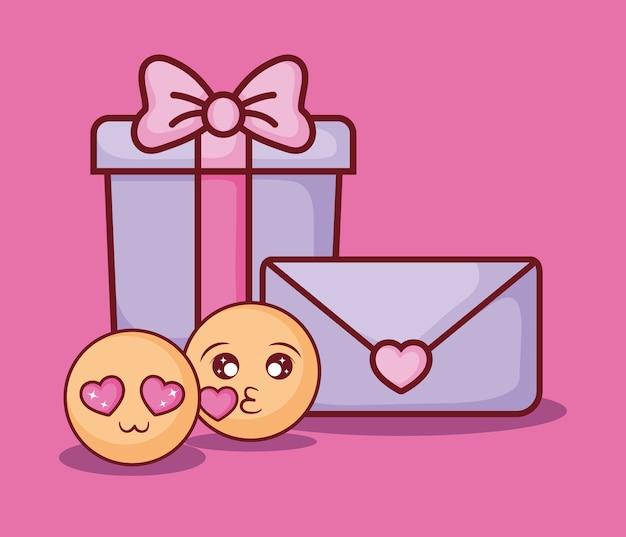 Online datingontwerp met geschenkdoos en emoji's