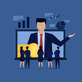Online de beloningsreferentie van de zakenmanpresentatie.