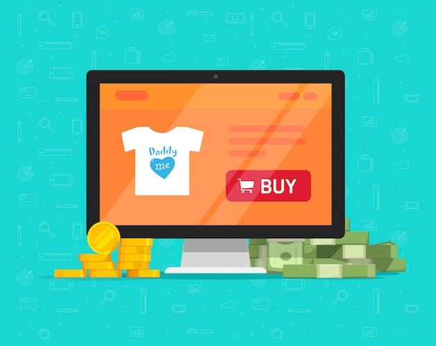 Online de winkelwebsite van internet op computer met veel verdiend geld