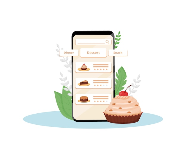 Online desserts kwaliteitsbeoordeling mobiele applicatie platte ontwerp concept illustratie