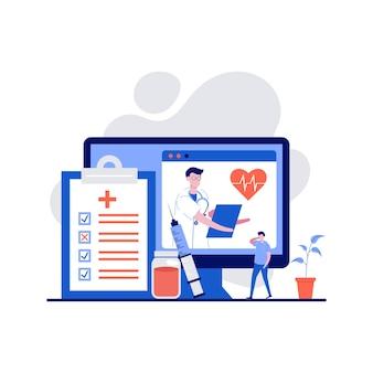 Online diagnoseconcept met karakter. online doktersadvies en ondersteuning.