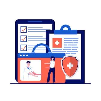 Online diagnoseconcept met karakter. patiënt op professionele raadpleging. digitaal platform voor gezondheidszorg, telegeneeskunde, medische diensten.