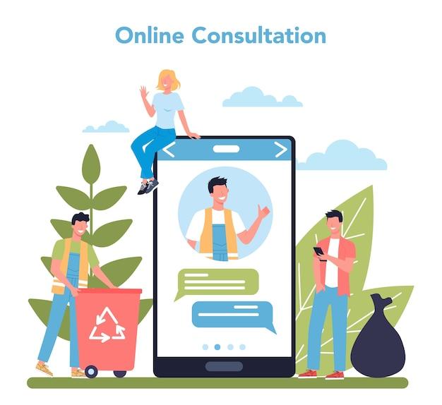 Online dienst of platform van schoonmaakbedrijf of conciërge. conciërgewerkers die straat schoonmaken en afval sorteren. online consult. geïsoleerde platte vectorillustratie