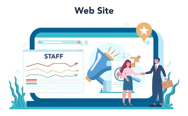 Online dienst of platform voor personeelszaken. idee van werving en jobbeheer.