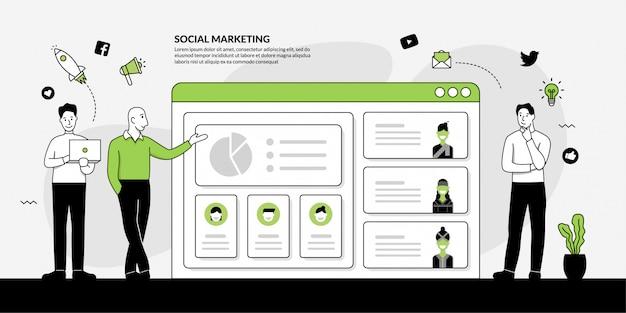 Online digitaal marketingconcept, mensen bespreken en gegevens analytisch concept