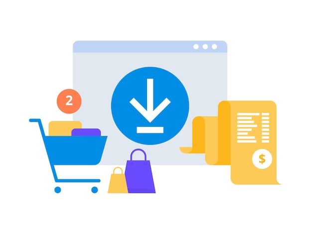 Online digitale factuur. mobiele app met factuurpapier en winkelwagentje. ontvangst in aanvraag. concept van online betaling, financiën, belasting. vlakke stijl