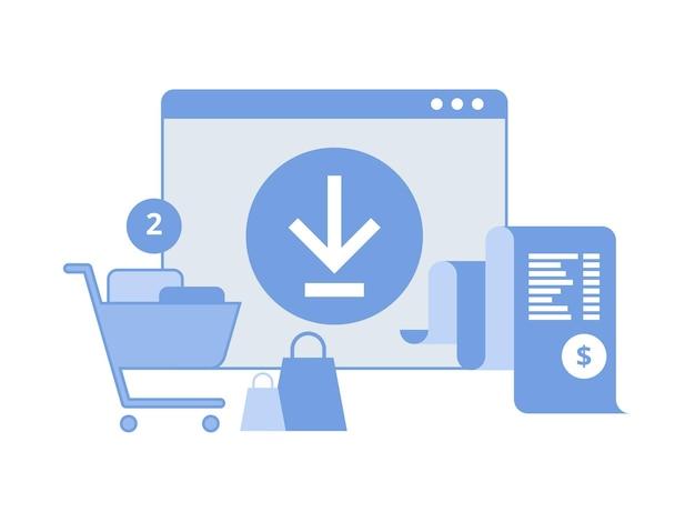 Online digitale factuur. mobiele app met factuurpapier en winkelwagentje. ontvangst in aanvraag. concept van online betaling, financiën, belasting.