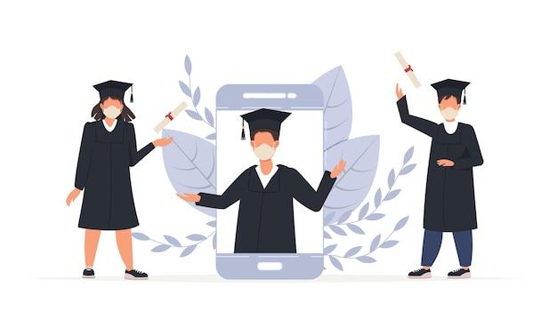 Online diploma-uitreiking, gelukkig lachend afgestudeerde studenten in smartphone met diploma