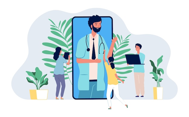 Online dokter. medische consultatie mobiele app. kleine mensen vragen internet dokter concept. illustratie geneeskunde online app, medische mobiel