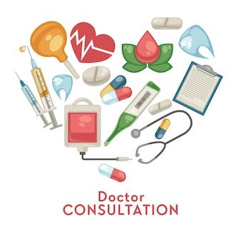Online doktersoverleg geneeskunde en behandeling gezondheidszorg pillen en medische hulpmiddelen apotheek vector