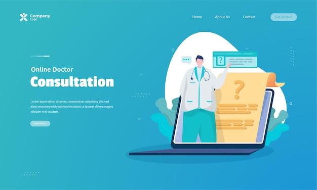 Online doktersraadpleging illustratie op bestemmingspagina concept