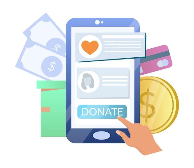 Online donatie hand geld doneren met behulp van smartphone vector illustratie liefdadigheid mobiele telefoon app