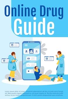 Online drug center poster platte sjabloon. bestel pillen via internet. brochure, boekje conceptontwerp van één pagina met stripfiguren. mobiele app voor gezondheidszorgflyer, folder