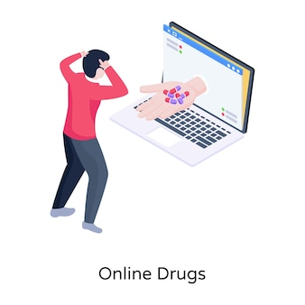 Online drugs gezondheidszorg isometrische illustratie