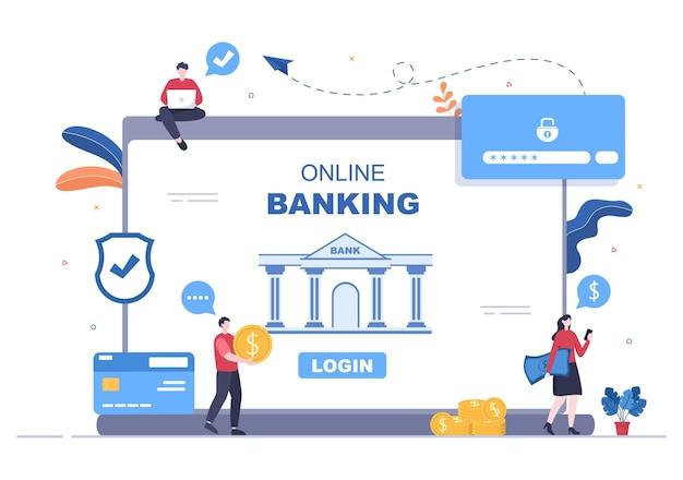 Online e-banking app, portemonnee of bank creditcard vectorillustratie met technologie, gegevensbescherming en betalingsbeveiliging voor digitale betalingen via smartphones