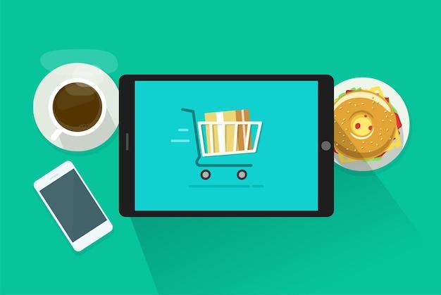 Online e-commerce winkelconcept op tablet computer scherm vector illustratie afbeelding