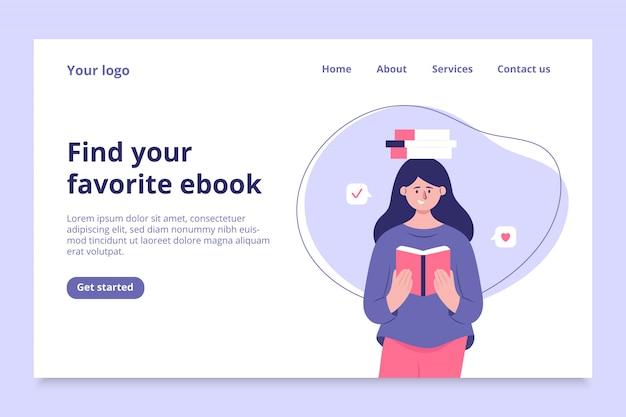 Online ebook-bestemmingspagina-sjabloon