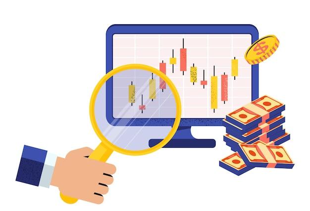 Online effectenmakelaar. hand met vergrootglas in de buurt van computermonitor. japanse kandelaargrafiek. financiële markt. aandelenkoersen en grondstofprijzen. platte vectorillustratie.