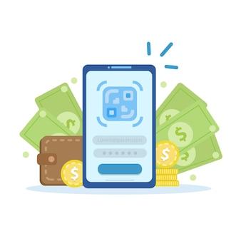 Online en mobiele betalingen, bevestigt de betaling met een smartphone, mobiele betaling, online bankieren.