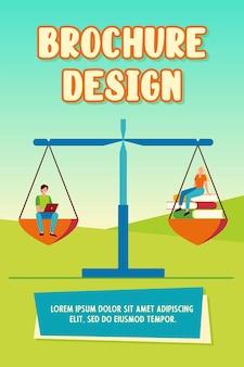Online en offline leervergelijking. studenten met laptop of stapel boeken op weegschaal. flat vector illustratie