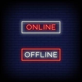 Online en offline neonreclamestijl
