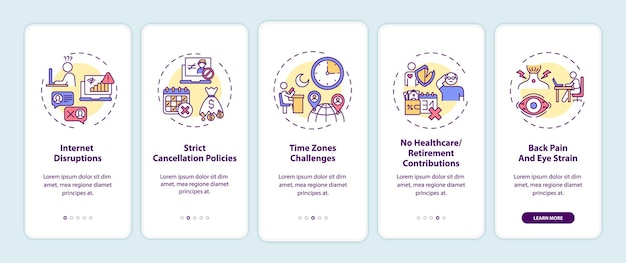 Online engelse onderwijsuitdagingen onboarding mobiele app-paginascherm met concepten. doorloopstappen voor internetstoringen. ui-sjabloon met rgb-kleur