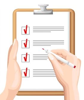 Online enquête, checklist. hand houdt tablet en vinger touch verticale scherm. feedback bedrijfsconcept. cartoon platte illustratie geïsoleerd op blauw. minimalistisch ontwerp voor website, mobiele app