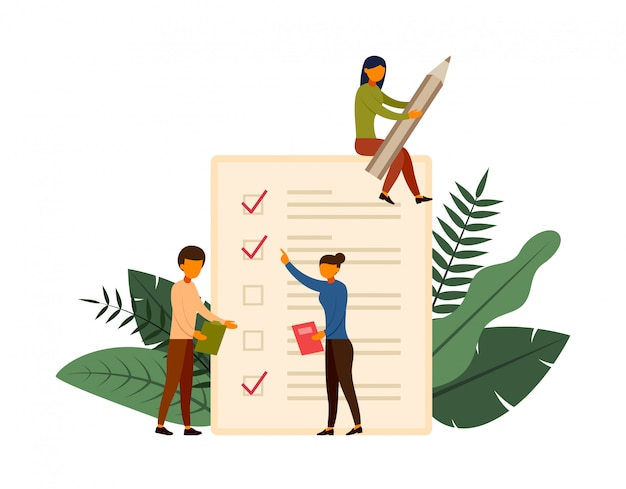 Online enquête concept concept met karakter illustratie