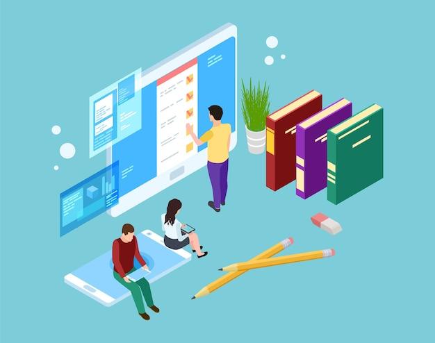 Online enquête concept. isometrische mensen evalueren services op laptop-, tablet- en smartphoneschermen. vector 3d mensen en gadgets. illustratie feedbackenquête online, beoordeling van klantenbeoordeling