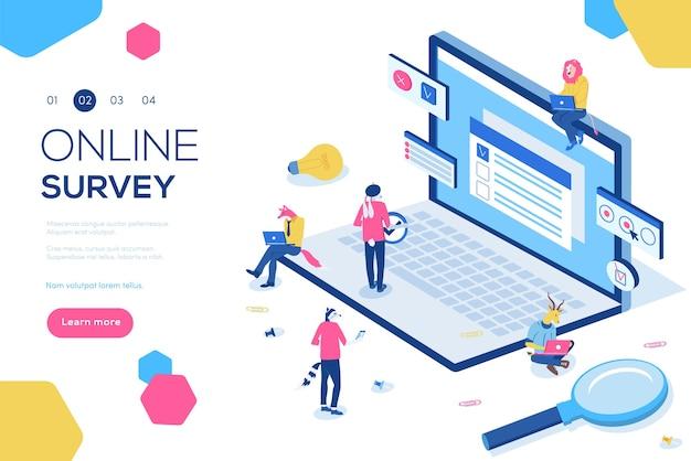 Online enquête concept met karakters. kan gebruiken voor webbanner, infographics, koptekstillustratie.
