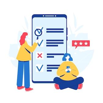 Online enquête concept. vrouwen die de checklist voor de enquête en de onderzoeksresultaten op het smartphonescherm doornemen.