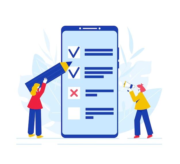 Online enquête concept. vrouwen doorlopen de enquête op het smartphonescherm en spreken in de luidspreker.