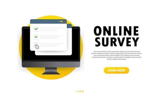 Online enquête illustratie. controleer het online formulier op de computer. rapporteren op website of webinternetenquête, examenchecklist. browservenster met vinkjes.