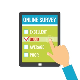 Online enquete. klantenservice feedback op schermtablet.