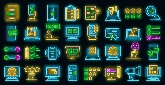 Online enquête pictogrammen instellen. overzicht set van online enquête vector iconen neon kleur op zwart