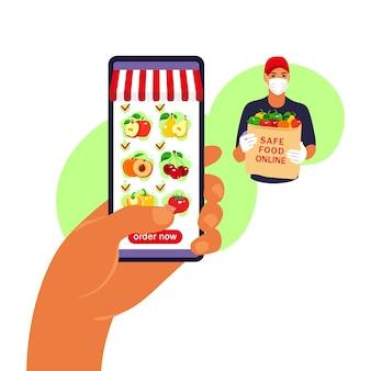 Online eten bestellen. boodschappen bezorgen. hand met smartphone met productcatalogus op de webbrowserpagina. blijf thuis concept. quarantaine of zelfisolatie. platte stijl.