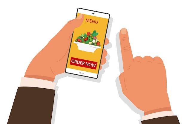 Online eten bestellen concept illustratie met menselijke hand met een mobiele telefoon en kies een salade.