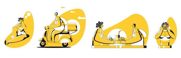 Online eten bestellen en levering proces illustratie