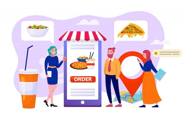 Online eten bestellen in zakelijke mobiele app, winkel technologie illustratie. mensenman het concept van de de dienstopslag van de vrouwengebruik levering. snelle aankoop voor klant in smartphone-supermarkt.