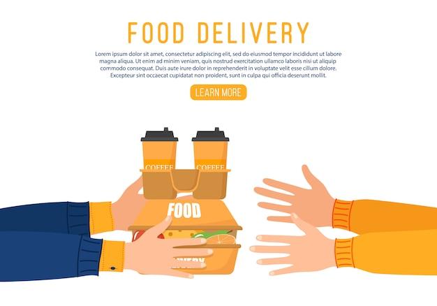 Online eten bezorgen. levering van eten van koerier aan klant vanwege coronavirus. handen houden papieren boodschappentas vol boodschappen producten. concept online maaltijd bestellen tijdens quarantaine. vector.