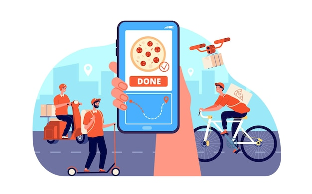 Online eten bezorgen. restaurant bestelservice, goederen uit supermarkt. snelle koerier op de fiets, maaltijdverzending naar huisvector service online technologie, bromfiets en fiets pizzabezorging illustratie