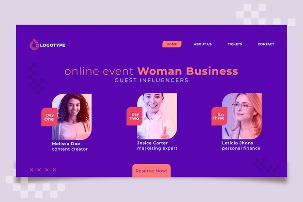 Online evenement bestemmingspagina zakenvrouw sjabloon
