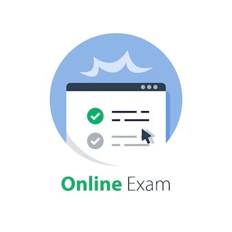 Online examen behalen, kennisbeoordeling, testscore, leren op afstand, cursus voltooien, internetonderwijs, e-formulier invullen en indienen, webtoegang en registratie, illustratie