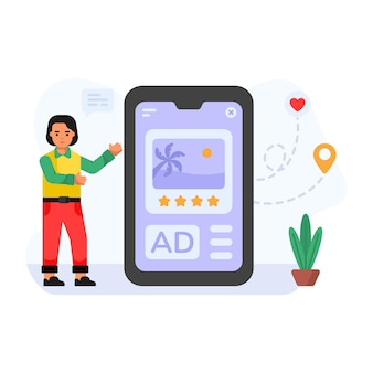 Online feedback platte karakterillustratie van advertentiebeoordeling