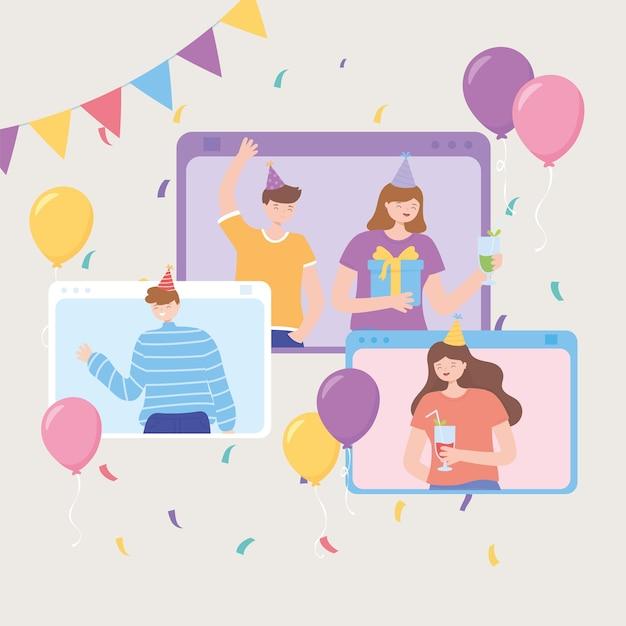 Online feest, feestelijk evenement voor mensenwebsite met decoratie