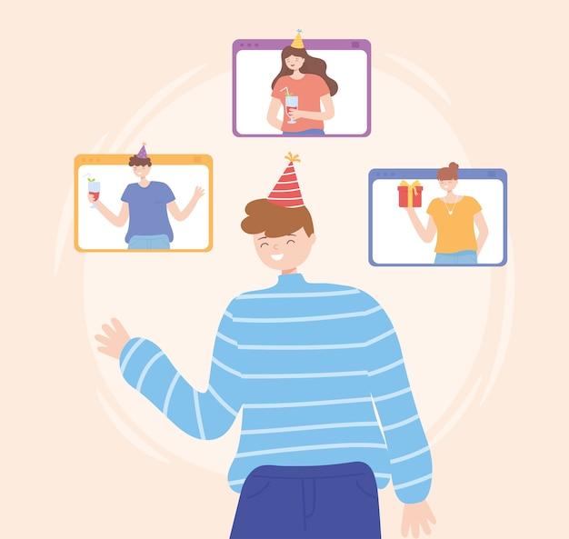Online feest, jonge man die verbinding maakt met mensenwebsite die vectorillustratie viert Premium Vector