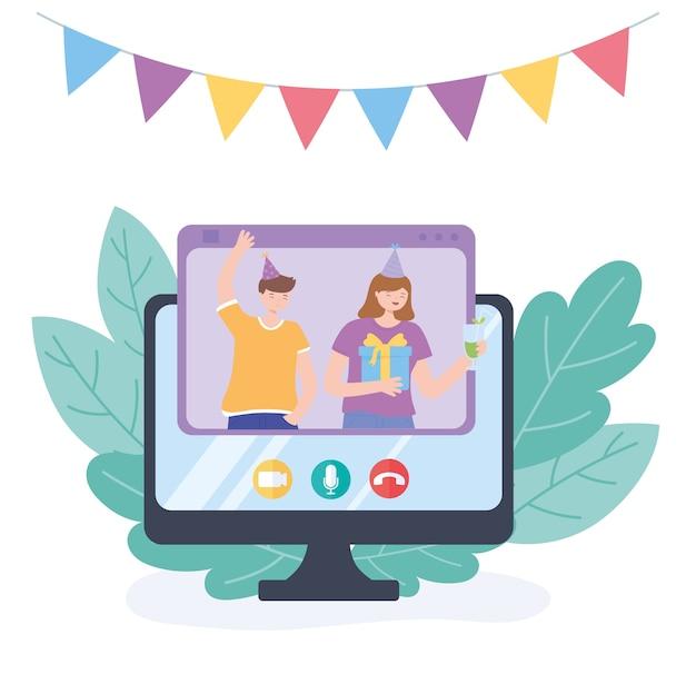 Online feest, koppel met cadeau en drankje vieren in videogesprek