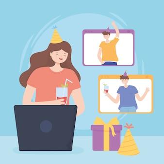 Online feest, mensen verjaardagsviering tijdens quarantaine Premium Vector
