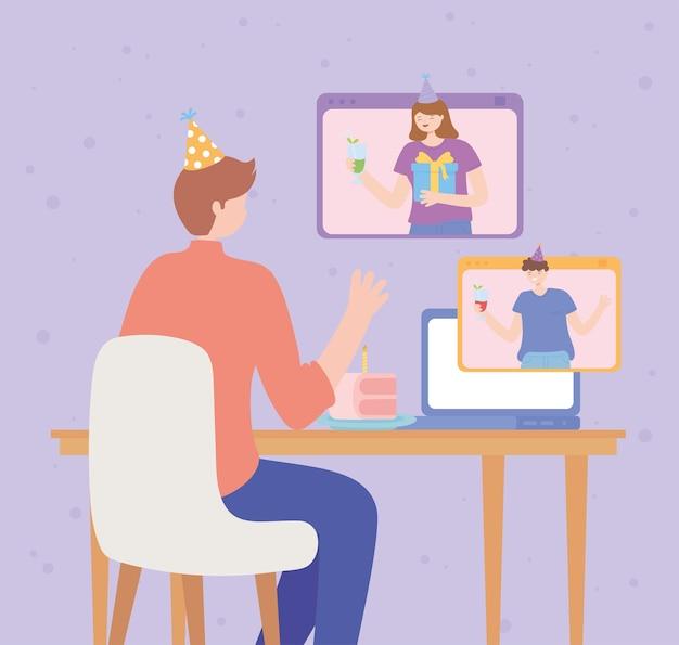 Online feest, mensen vieren verjaardag websiteverbinding